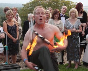 Fire juggling at an evening house party at The Old Rectory, Devon